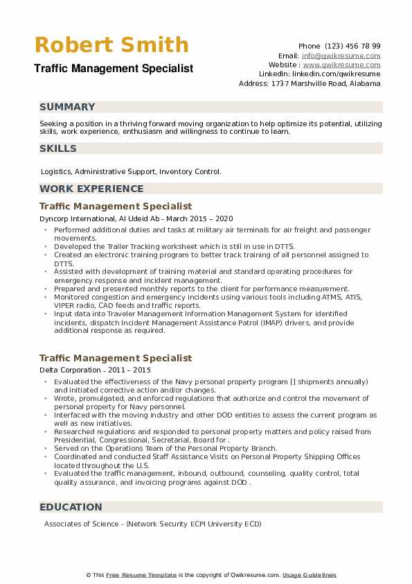 Traffic Management Specialist Resume example