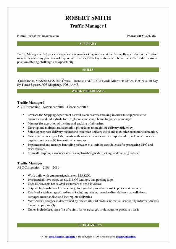 Traffic Manager I Resume Model