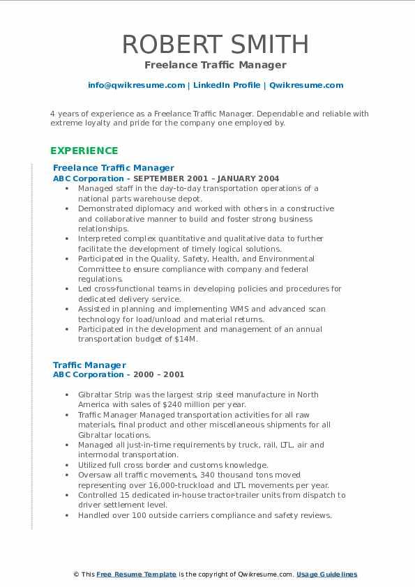 Freelance Traffic Manager Resume Format