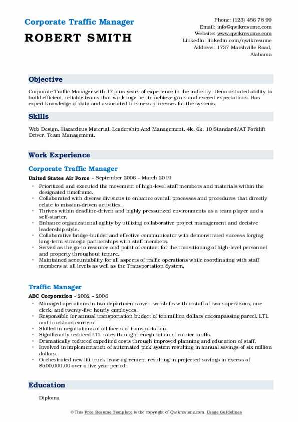 Corporate Traffic Manager Resume Template
