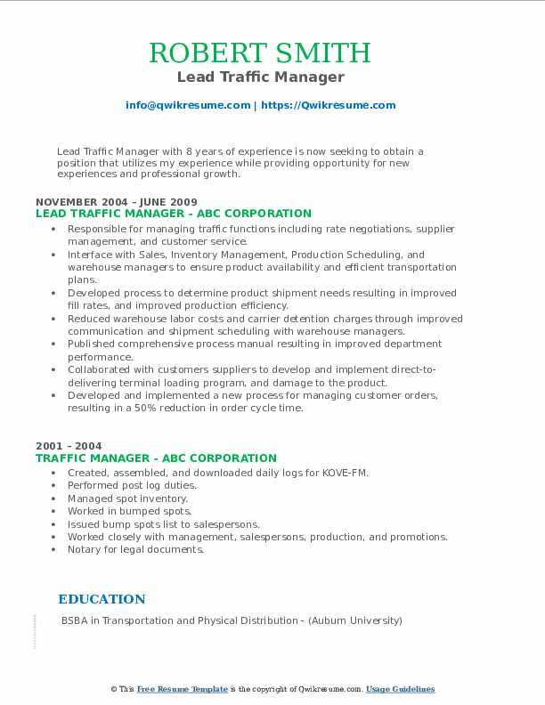 Lead Traffic Manager Resume Sample