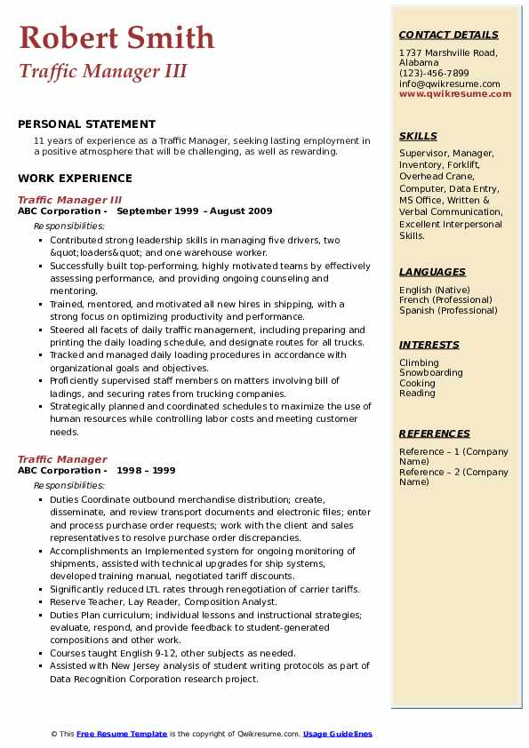 Traffic Manager III Resume Format