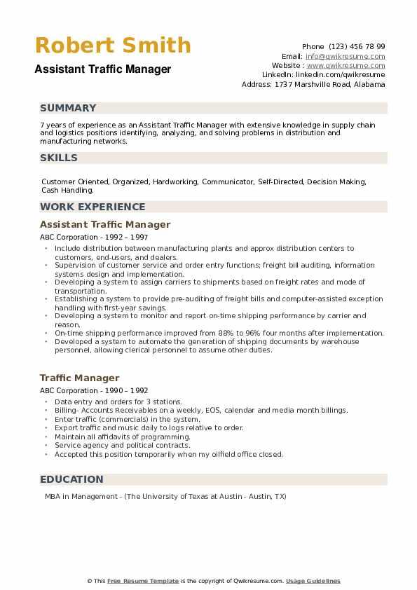 Assistant Traffic Manager Resume Sample