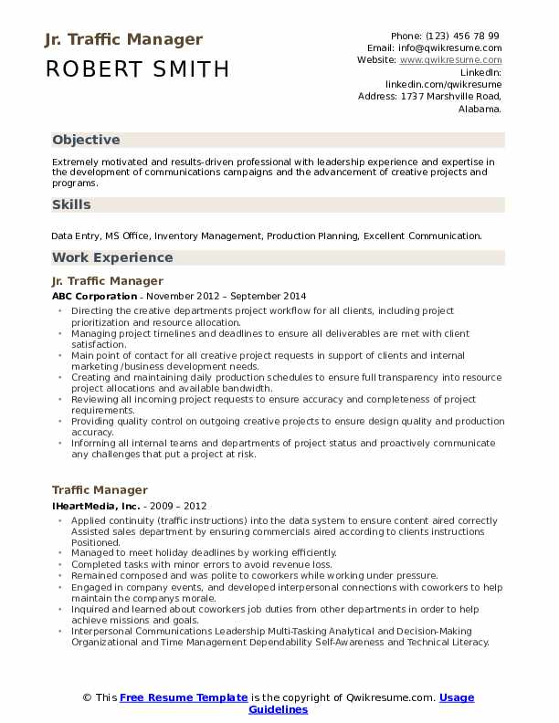 Jr. Traffic Manager Resume Template