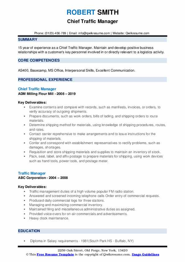 Chief Traffic Manager Resume Template