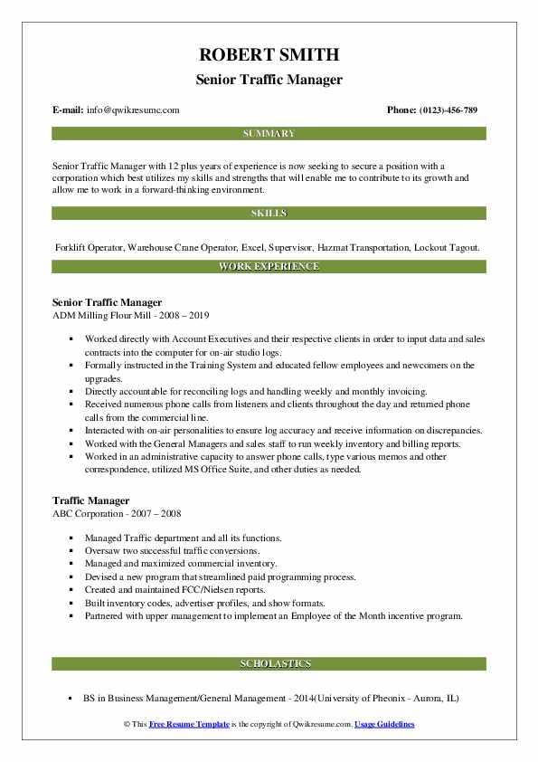 Senior Traffic Manager Resume Model