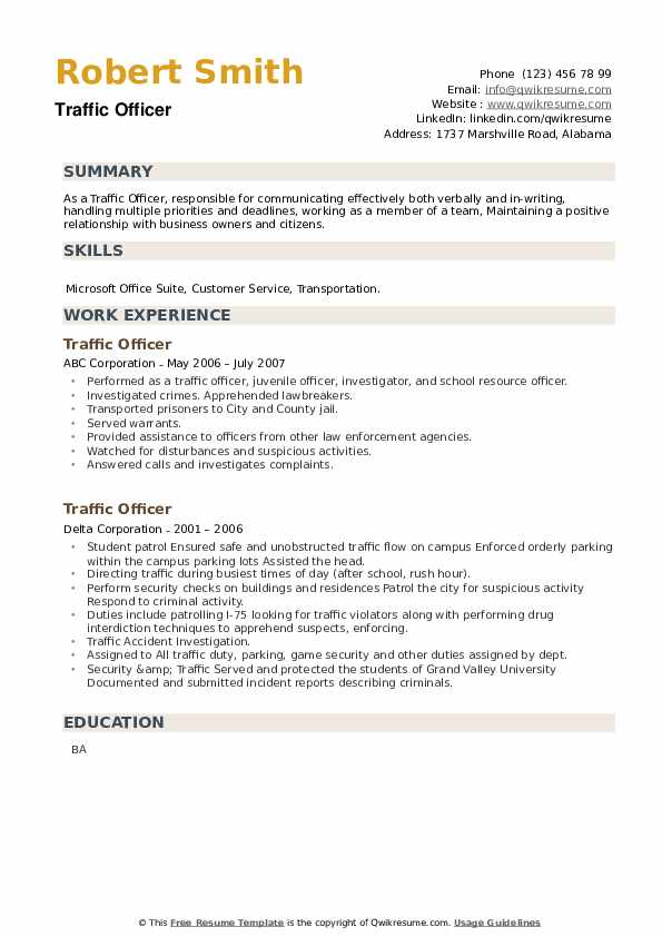 Traffic Officer Resume example