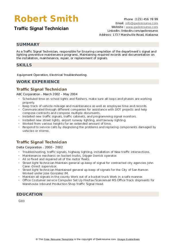 Traffic Signal Technician Resume example