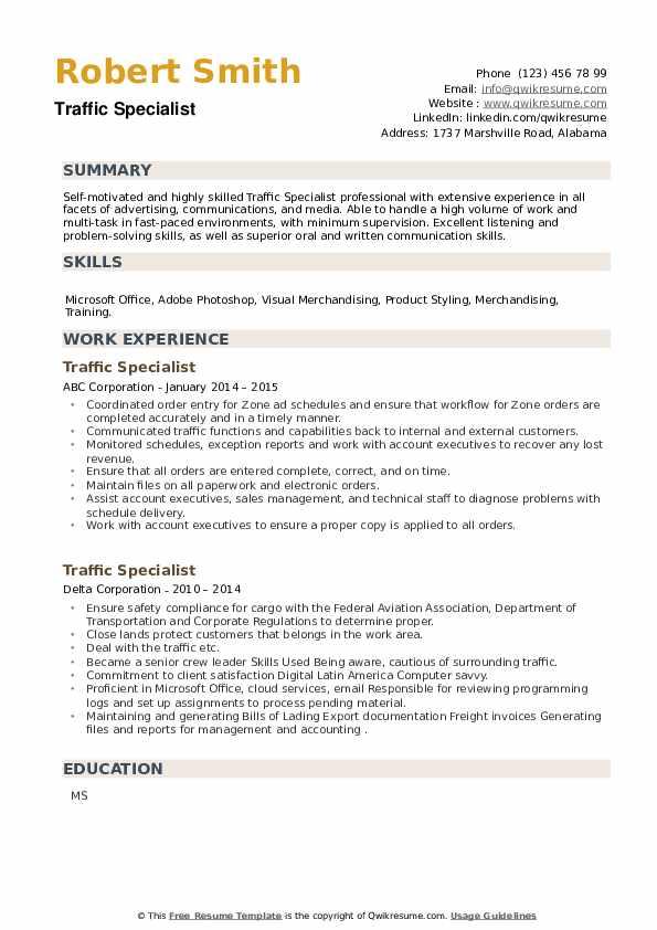 Traffic Specialist Resume example