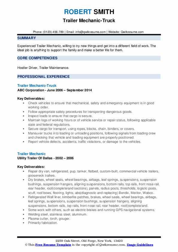 Trailer Mechanic-Truck Resume Format