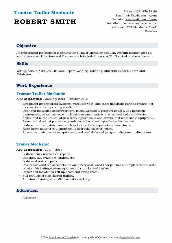 Tractor Trailer Mechanic Resume Model