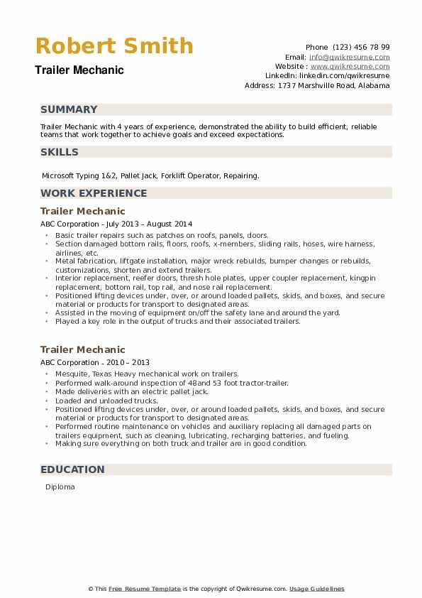 Trailer Mechanic Resume example