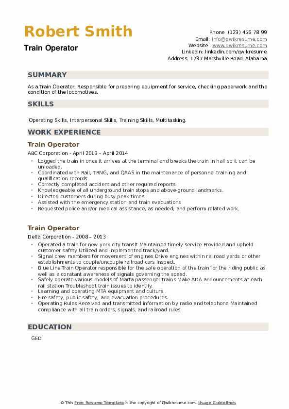 Train Operator Resume example