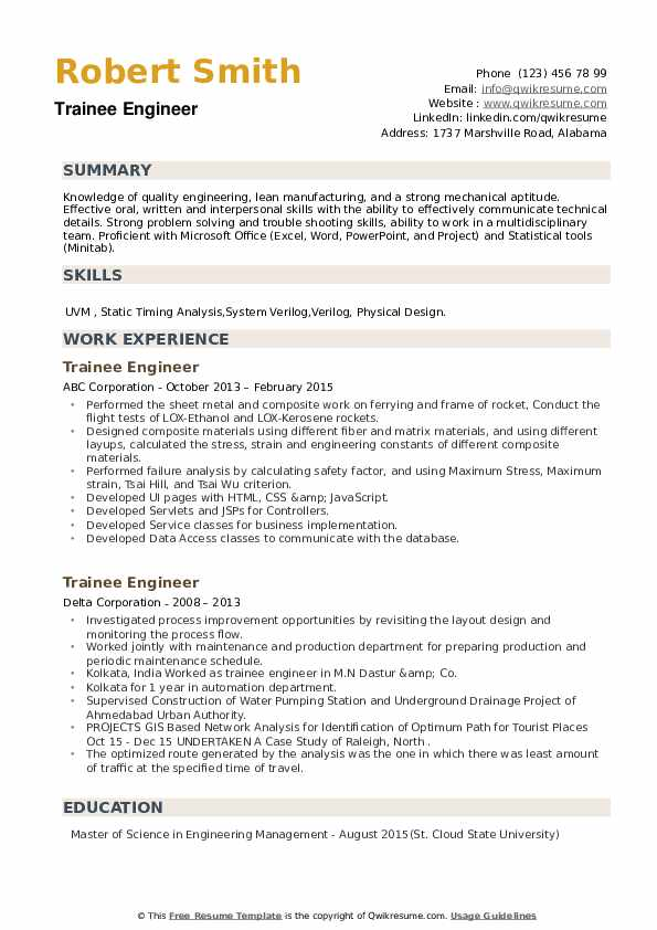 Trainee Engineer Resume example