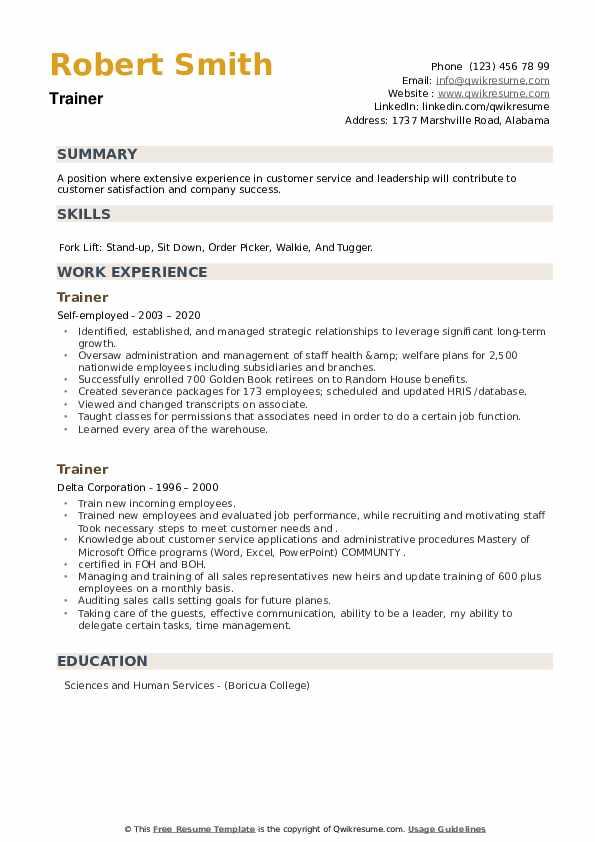 Trainer Resume example