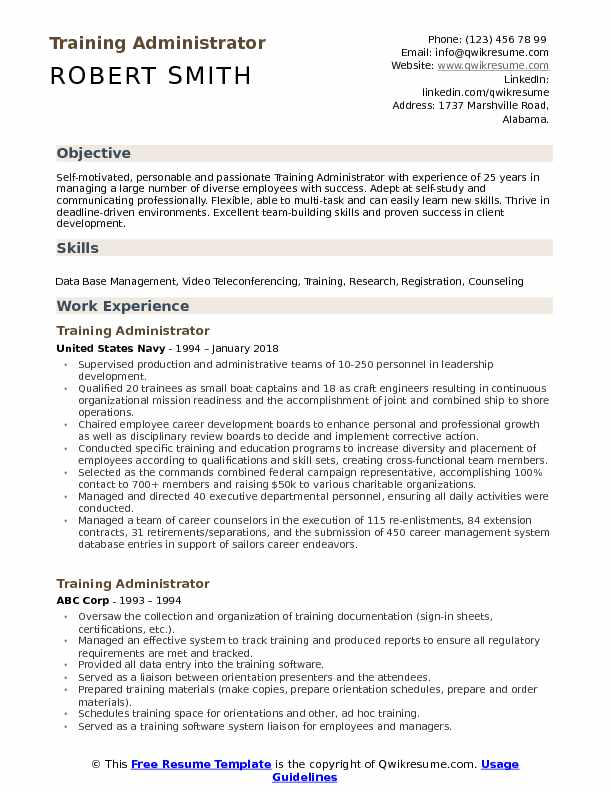 Training Administrator Resume Example