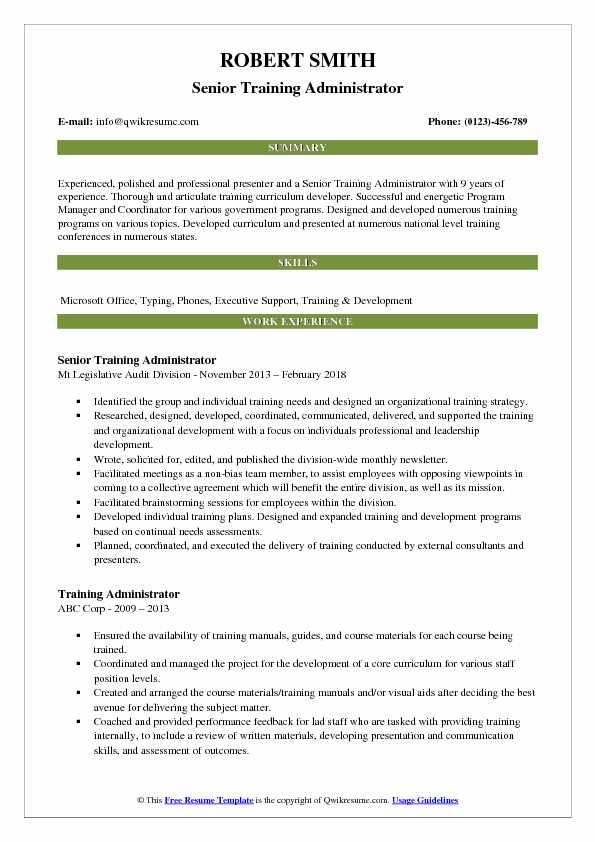 Senior Training Administrator Resume Example