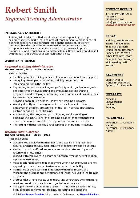 Regional Training Administrator Resume Example
