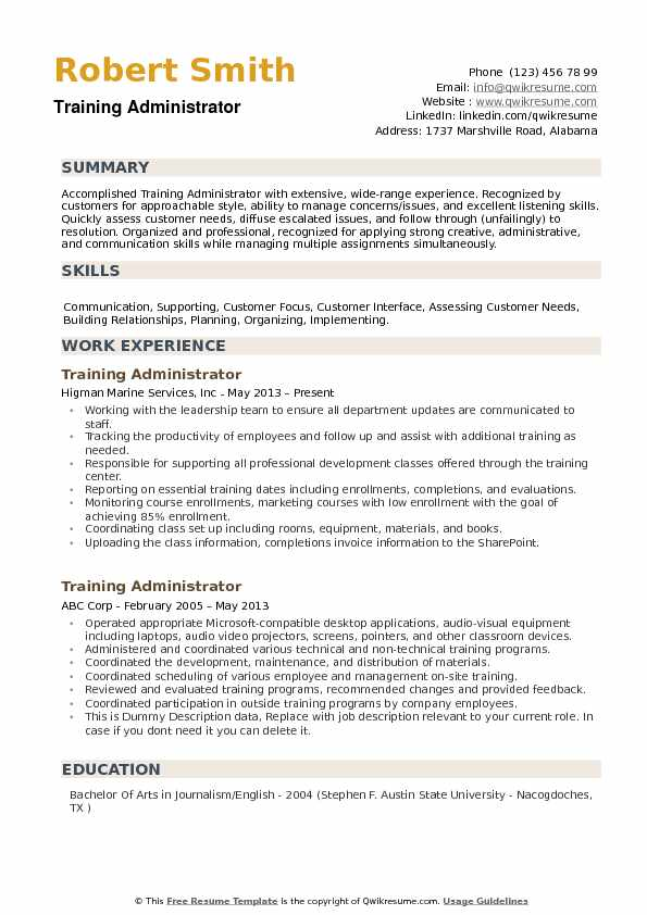 training administrator resume samples