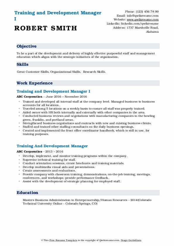 training and development manager resume samples  qwikresume