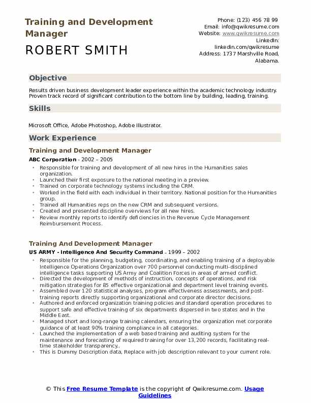 Training And Development Manager Resume example