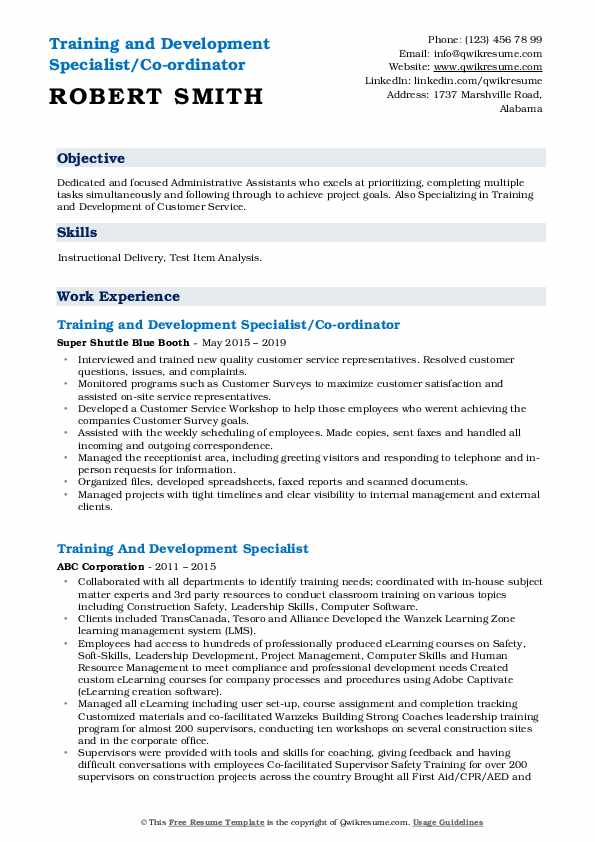 training and development specialist resume samples