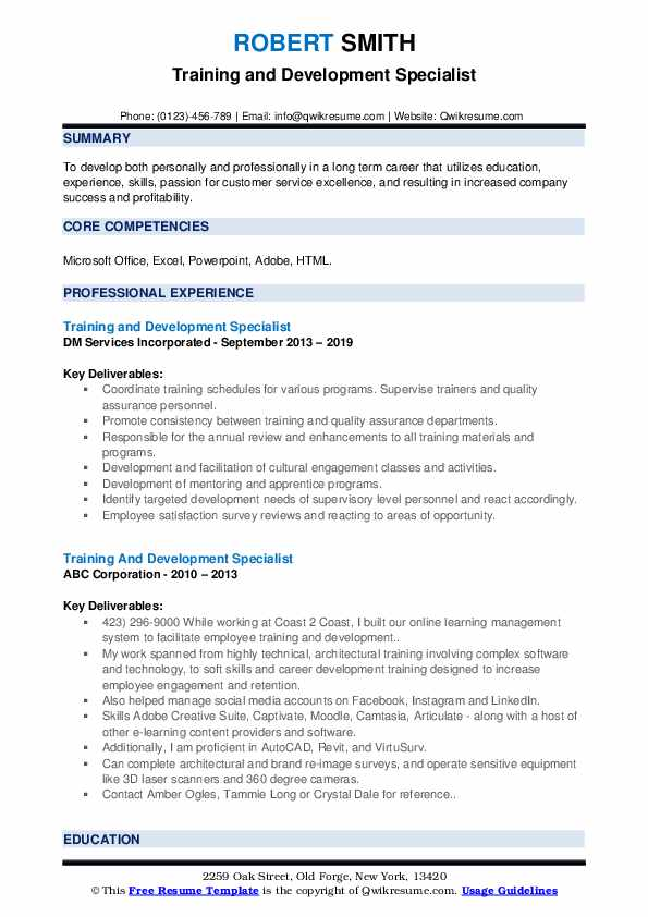 Training And Development Specialist Resume example