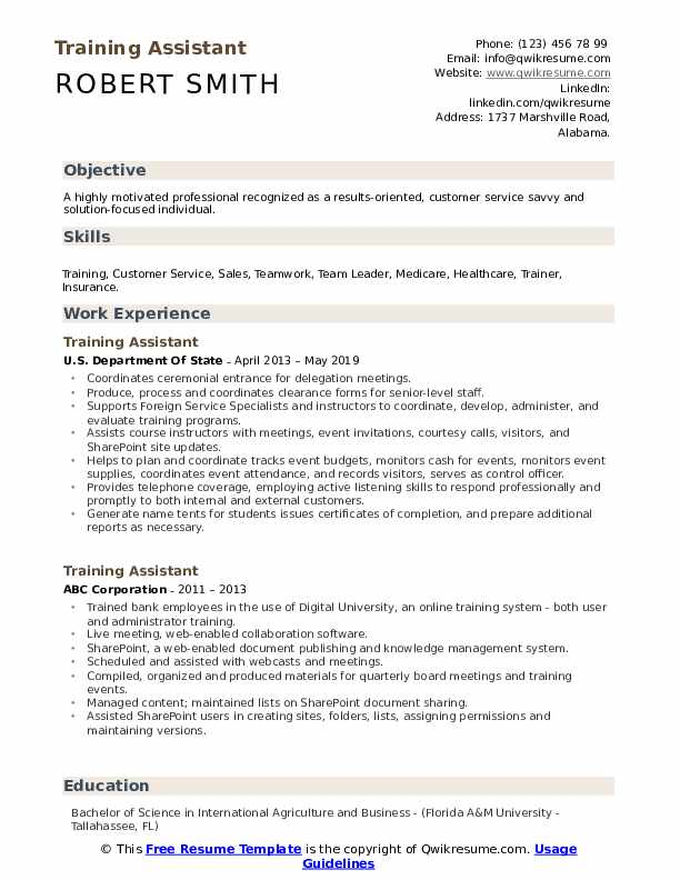 Training Assistant Resume Template
