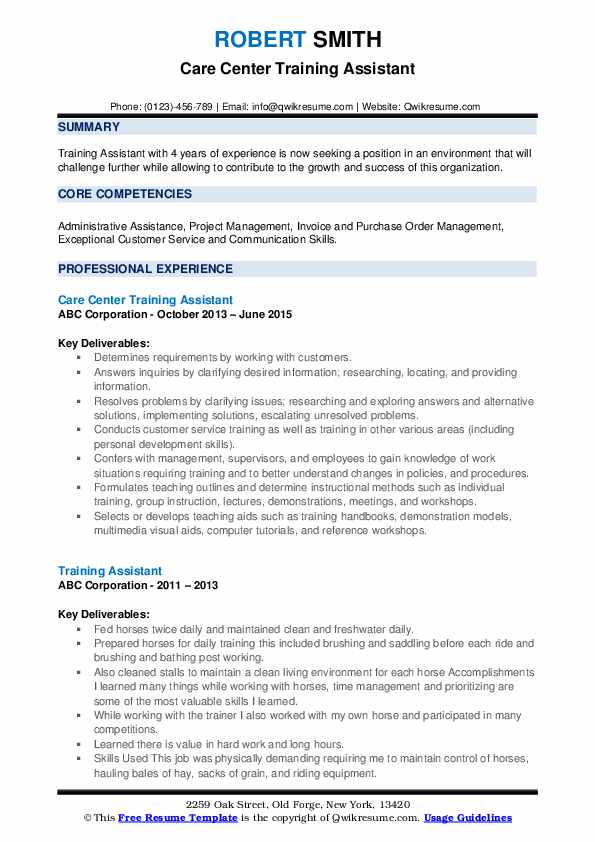 Care Center Training Assistant Resume Example