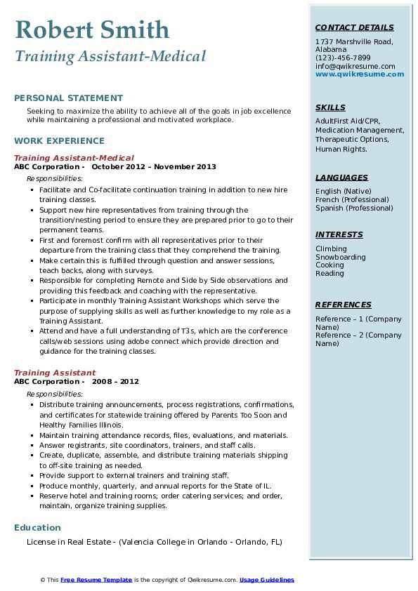 Training Assistant-Medical Resume Format