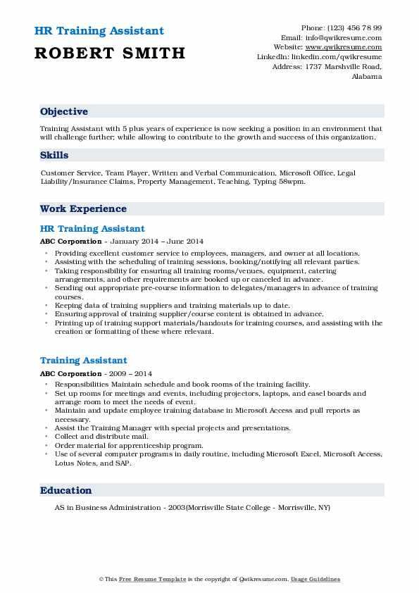 HR Training Assistant Resume Sample