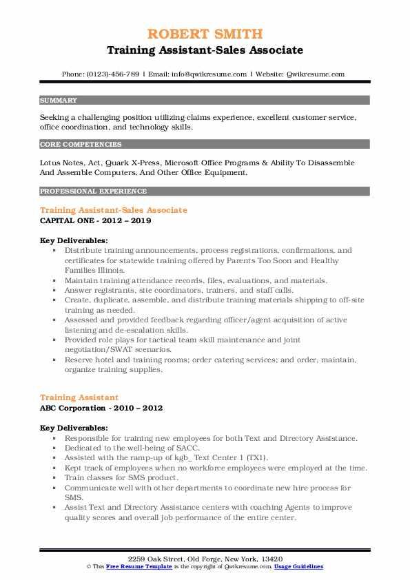 Training Assistant-Sales Associate Resume Format