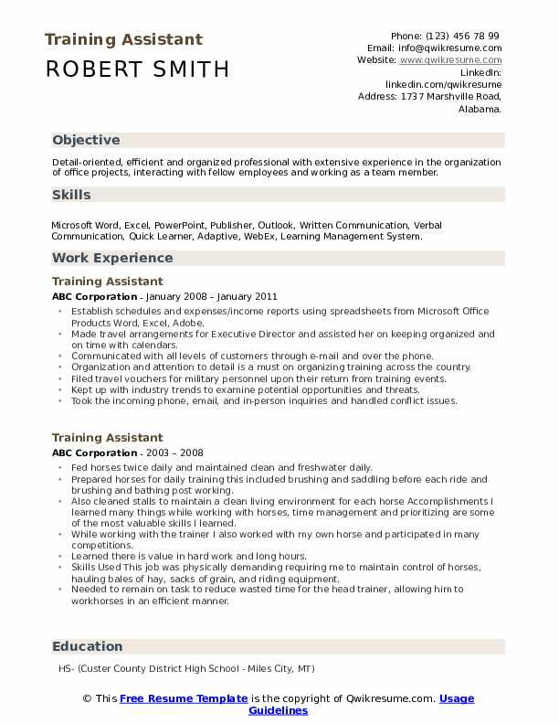 Training Assistant Resume example