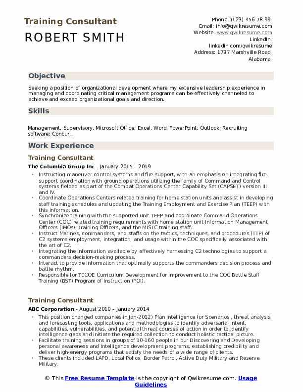 Training Consultant Resume Model