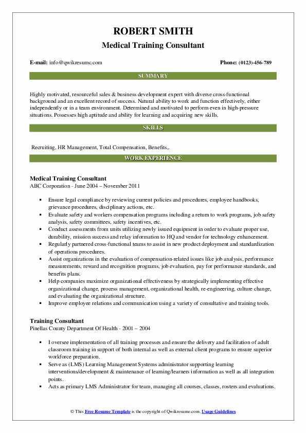 Medical Training Consultant Resume Sample
