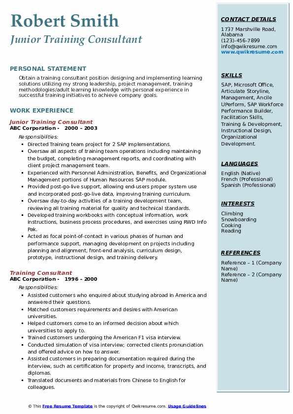 Junior Training Consultant Resume Example