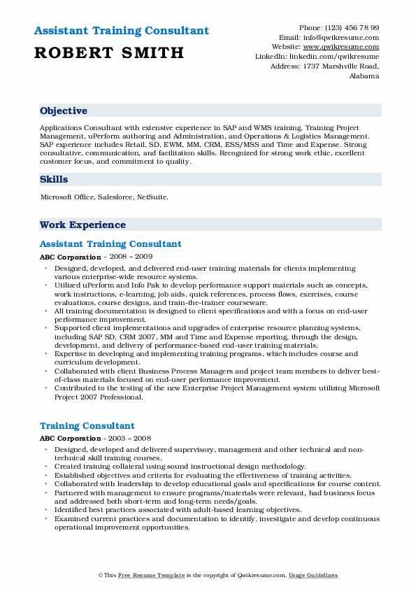Assistant Training Consultant Resume Format