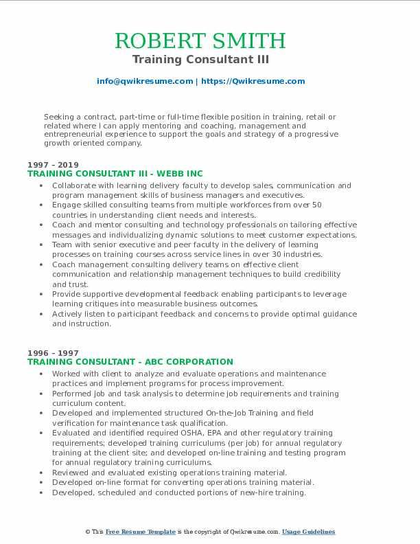 Training Consultant III Resume Template