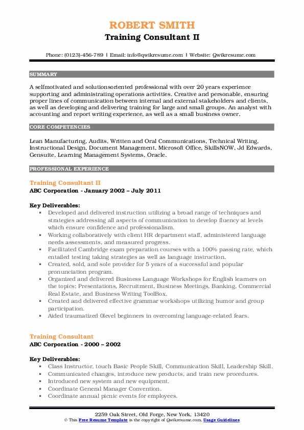 Training Consultant II Resume Model