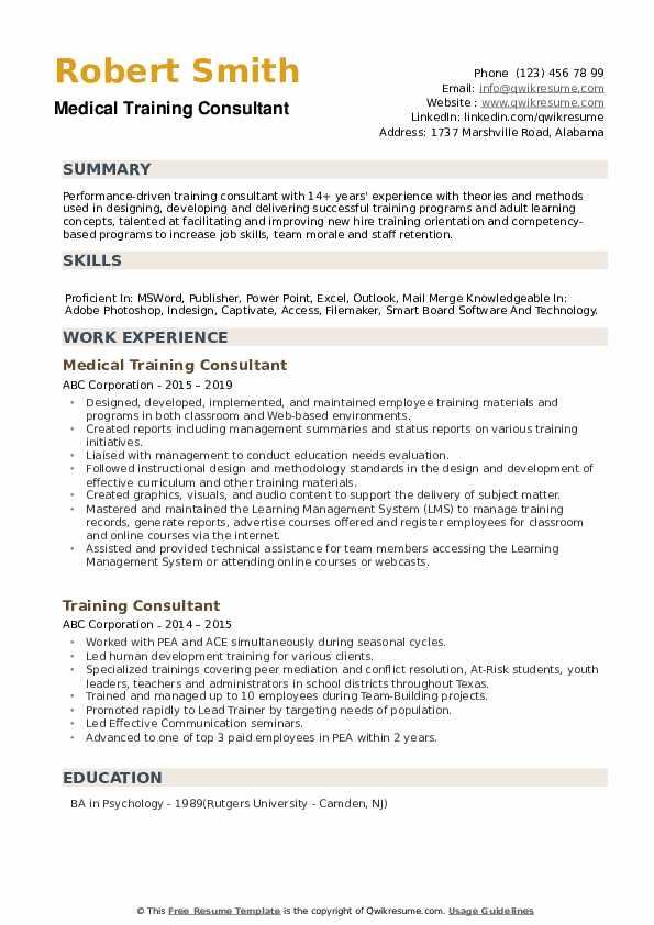 Medical Training Consultant Resume Template