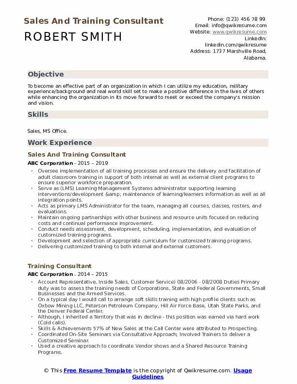 Sales And Training Consultant Resume Format
