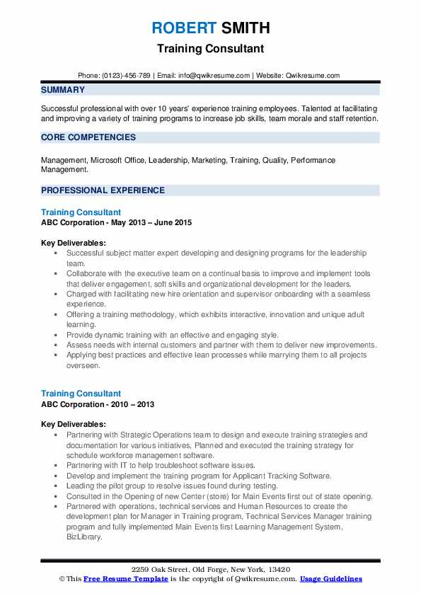 training consultant resume samples
