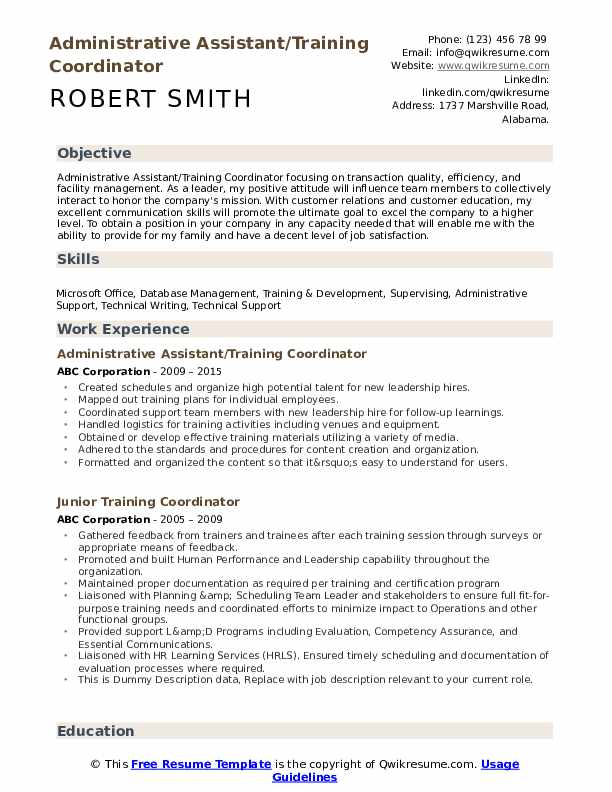 Administrative Assistant/Training Coordinator Resume Format