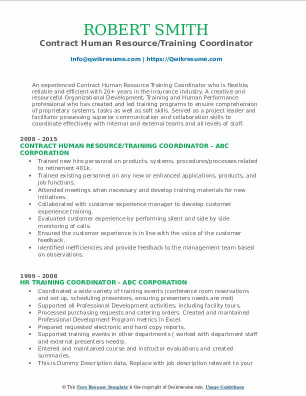 Contract Human Resource/Training Coordinator Resume Sample