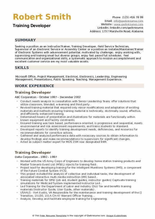 Training Developer Resume example