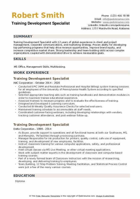 Training Development Specialist Resume example