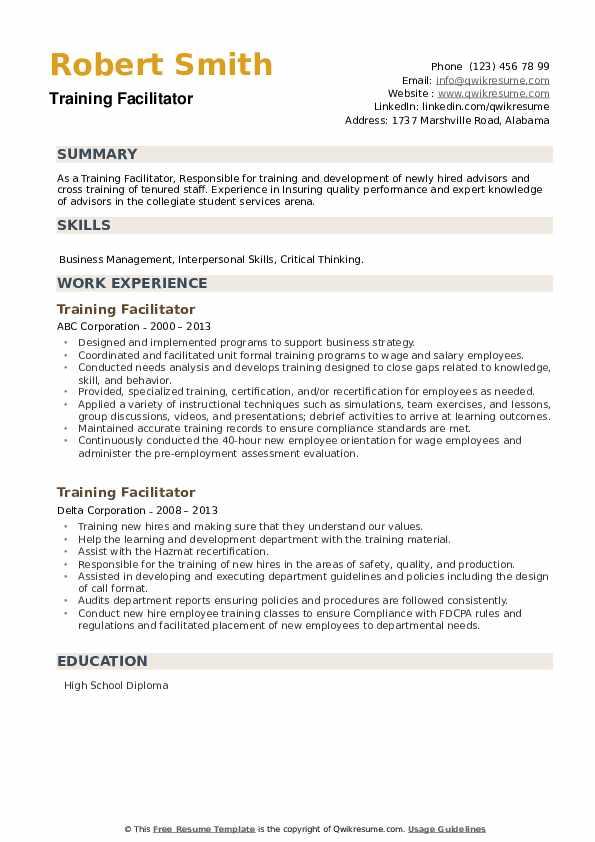 Training Facilitator Resume example
