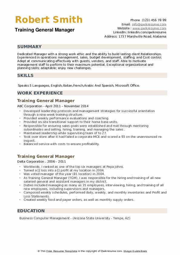 Training General Manager Resume example