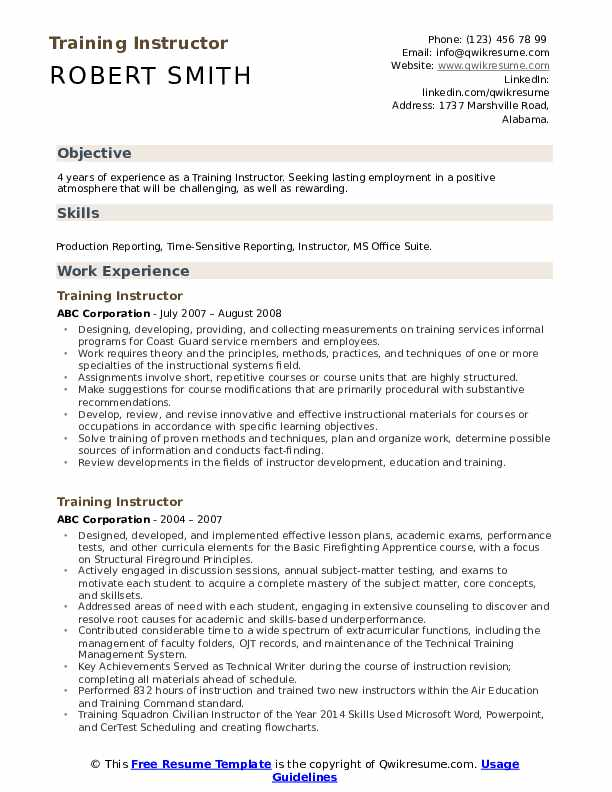 Training Instructor Resume Template
