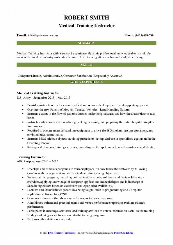 Medical Training Instructor Resume Template